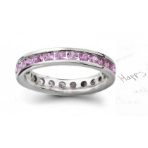 Women's Pure Pink Sapphire Gemstone RoundEternity Ring