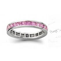 Women's Pure Pink Sapphire Gemstone Square Eternity Ring