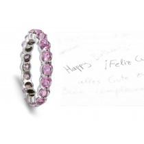 Women's Pure Pink Sapphire Gemstone Round Eternity Ring