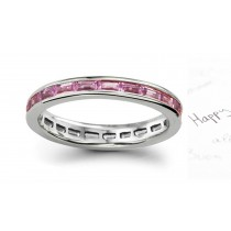 Women's Pure Pink Sapphire Gemstone Baguette Eternity Ring