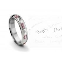 Burnish Set Baguette Sapphire Gemstone Eternity Ring