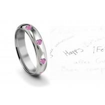 Burnish Set Heart Women's Pure Pink Sapphire Gemstone Eternity Ring