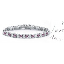 pINK Colored Diamonds & White Diamonds Fancy Pink Diamond Bracelet and Necklace