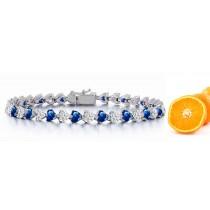 New Heart Blue Sapphire & Heart Diamond Circle Bracelet and Necklace