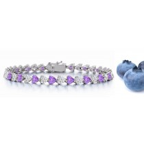 New Heart Blue Sapphire & Heart Diamond Bracelet and Necklace