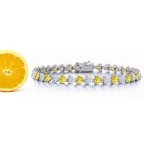 New Heart Blue Sapphire & Heart Diamond Bangle Bracelet and Necklace