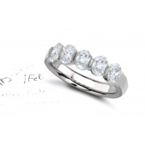 Platinum Prong Set Oval Diamond Half Eternity Ring.