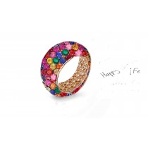 Custom Prong-Set Diamond, Ruby & Multi-Colored Gemstones Eternity Band Rings