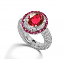 Latest Collection: Delicate Halo Micropave Ruby and Diamond Engagement Rings With Side Accents