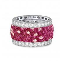 Custom Prong-Set Diamond & Ruby Eternity Band Wedding Anniversary Rings