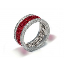 Latest Collection: Delicate Halo Micropave Women's Ruby and Diamond Eternity Rings & Bands