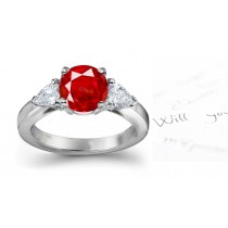 Available In Stock: Vivid Cherry Red 3 Stone Round Ruby & Pear Shape Diamond 3 Stone Anniversary Rings Silver Gold Ring. Comes With Sapphire Also Price $2375 - $$69,750