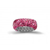 Eternity Ring with Pave Set Rubies in Gold or Platinum