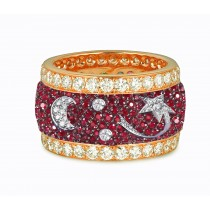 Eternity Ring with Pave Set Rubies & White Diamonds in Gold or Platinum