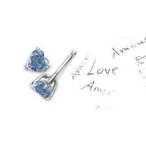 Rich Colored Diamonds Designer Collection - Blue Colored Diamonds & White Diamonds Heart Blue Diamond Gold or Platinum Earrings
