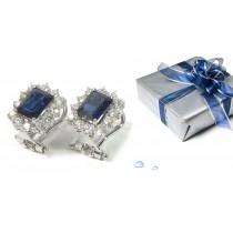 Sapphire Earrings: Platinum & Gold Sapphire Diamond Earrings Available in Platinum or Gold Settings.