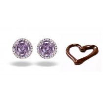 Unique Colored Diamonds Designer Collection - Women'ds Pink Colored Diamonds & White Diamonds Fancy Pink Diamond Cluster Earrings