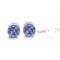 Variety of Colored Diamonds Designer Collection - Blue Colored Diamonds & White Diamonds Fancy Blue Diamond Studs