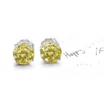 Various Combinations of Colored Diamonds Designer Collection - Yellow Colored Diamonds & White Diamonds Fancy Yellow Diamond Open-Work Earrings