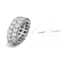 Impeccable: Two Rows of Sparkling Prong Set Brilliant Cut Round Diamond Eternity Rings in Gold