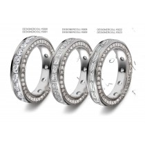 Finely Crafted Diamond Eternity Band Decorated on both Sides Sides with Twinkling Halo of Diamonds