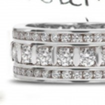 Bar Set Diamond Eternity Band Boredered by Two Rows of Sparkling Diamonds in Gold