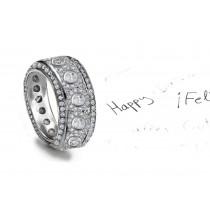 Craftsmanship: Sparkling Wide Diamond Eternity Band Micropave & Bezel Set Diamonds in Platinum