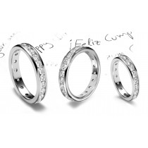 Classic Platinum Channel Set Round Diamond Eternity Band in 1.0 to 5.0 cts tw in Platinum & Gold