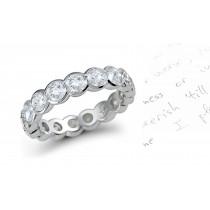 Platinum Semi-Bezel Set Round Diamond Eternity Ring