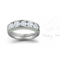 Classic Five Stone Diamond Half Eternity Band in Ring Size 3 to 8