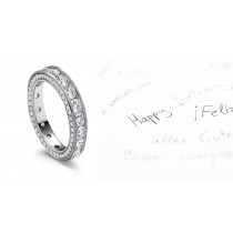Finely Crafted Diamond Eternity Wedding Band Milgrain Edge & Side Halo of Diamonds in Gold