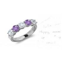 5 Stone Purple Sapphire & Diamond Half Eternity Band in Gold