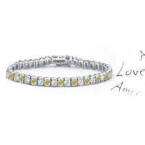 Yellow Colored Diamonds & White Diamonds Fancy Yellow Diamond Bracelet and Necklace